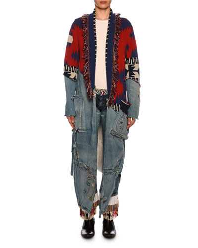 x Greg Lauren Icon Patchwork Long Cashmere & Denim Cardigan and Matching Items
