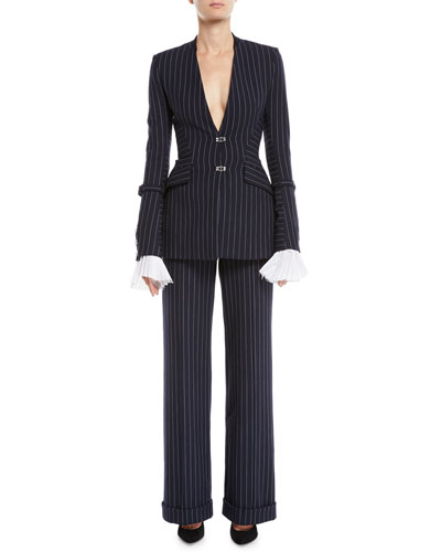 Basque Tailored Pinstripe Hook-Front Blazer and Matching Items