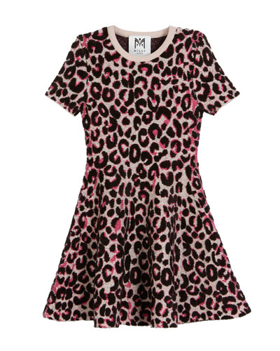 Textured Cheetah Fit-and-Flare Dress, Size 4-7  and Matching Items