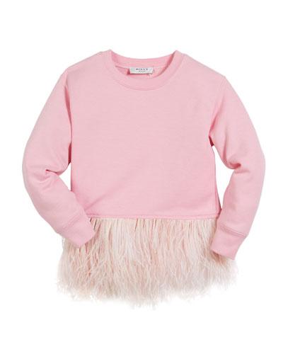 Feather-Hem Sweatshirt, Size 4-7  and Matching Items