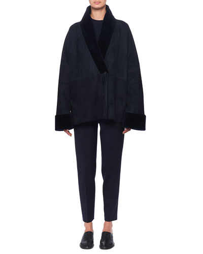 Pernia Shearling-Trim Wrapped Jacket, Navy and Matching Items