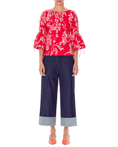 Flutter-Sleeve Bateau-Neck Pleated Floral-Print Blouse and Matching Items