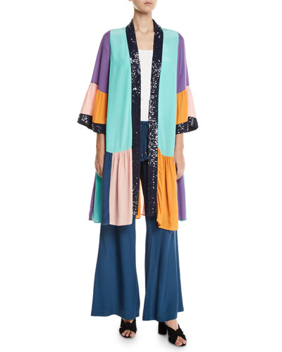 Nisha Colorblocked Sequin-Trim Peplum-Hem Kimono and Matching Items