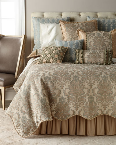 Gianna Scalloped Damask Queen Duvet  and Matching Items