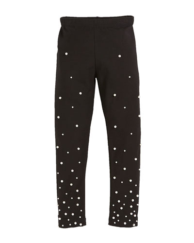 Leggings w/ Gradient Pearly Bead Trim, Size S-XL  and Matching Items