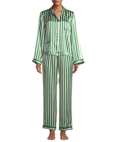 Ruthie Striped Classic Silk Pajama Top and Matching Items