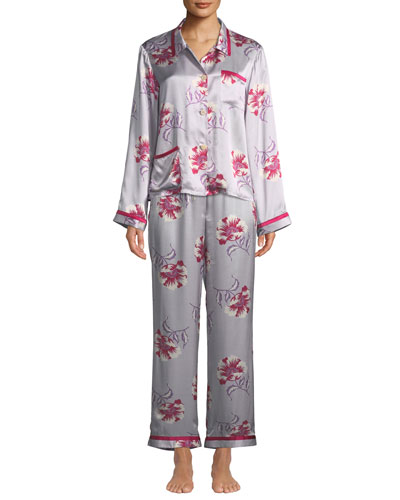 Esmeralda Ruthie Floral-Print Silk Pajama Top and Matching Items