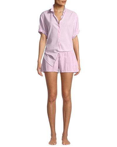 Channing Poplin Short-Sleeve Pajama Shirt and Matching Items
