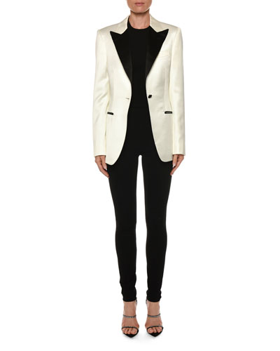 Contrast Lapel Tux Jacket  White/Black and Matching Items