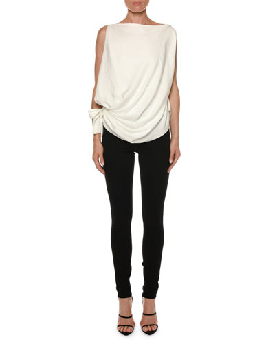 Draped Sleeveless Tie-Side Blouse and Matching Items