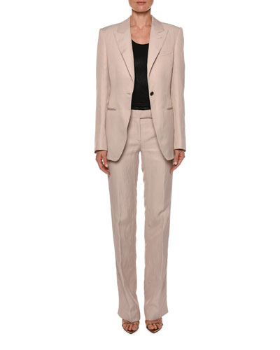 Peak Lapel One-Button Jacket  and Matching Items