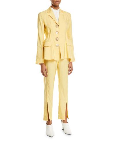 Etta Linen Notch-Collar Peplum Jacket and Matching Items