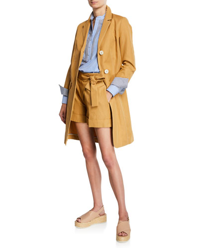 Cotton Canvas Stripe-Trim Long Coat and Matching Items