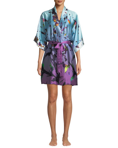 Kaleidoscope Silk Short Robe and Matching Items