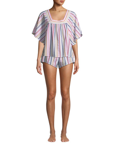 Maerin Short-Sleeve Striped Lounge Top and Matching Items