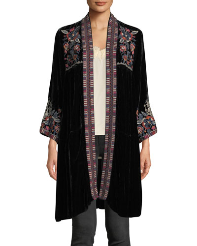 Bracelet-Sleeve Velvet Duster w/ Embroidery  and Matching Items