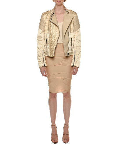 Satin & Leather Biker Jacket and Matching Items