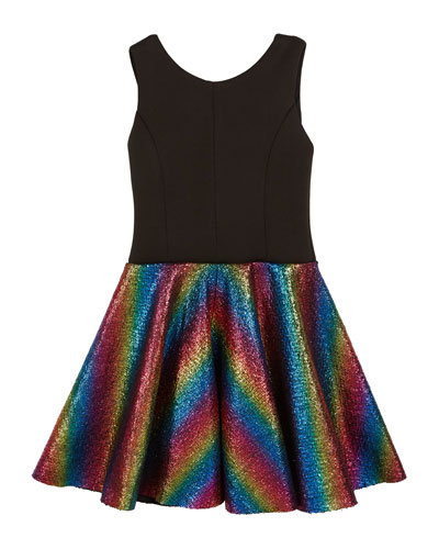 Sleeveless Dress with Foil Rainbow Skirt, 4-6X and Matching Items