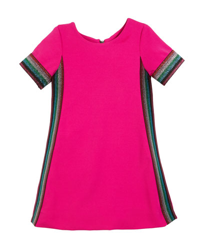 Knit Short-Sleeve Dress with Metallic Stripes, Size 4-6X and Matching Items