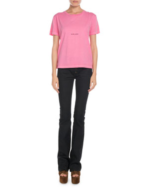 e88d7981c3ca7 Saint Laurent Short-Sleeve Logo Graphic Tee Exposed-Button Flare Jeans