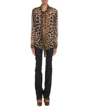 3540a876cdca6 Saint Laurent Tie-Neck Leopard Chiffon Blouse Exposed-Button Flare Jeans