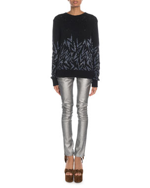 1ea15e6259c2d Saint Laurent Shimmer-Boomerang Jacquard Sweater Mid-Rise Skinny Jeans