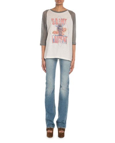 Exposed-Button Faded Flare Jeans and Matching Items