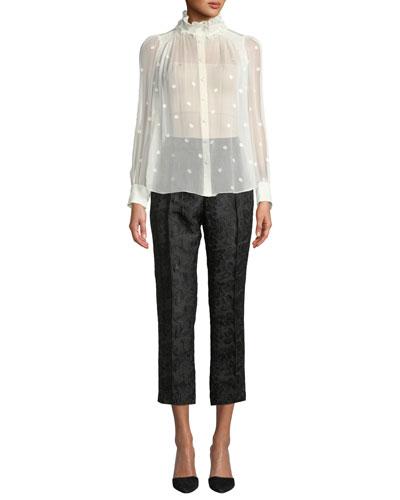 High-Rise Straight-Leg Metallic Jacquard Pants and Matching Items