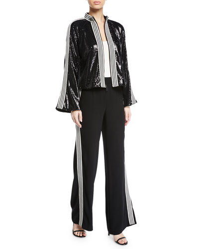 Le Freak Long-Sleeve Sequin Jacket w/ Striped-Trim and Matching Items