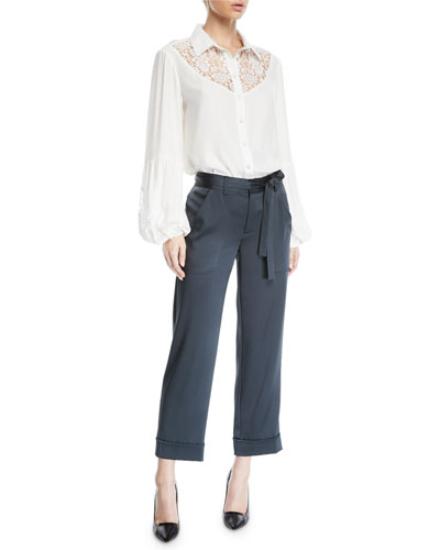 Peace and Love Long-Sleeve Blouse w/ Lace and Matching Items
