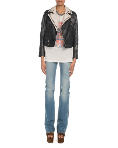 Star-Studded Contrast Collar Leather Jacket and Matching Items