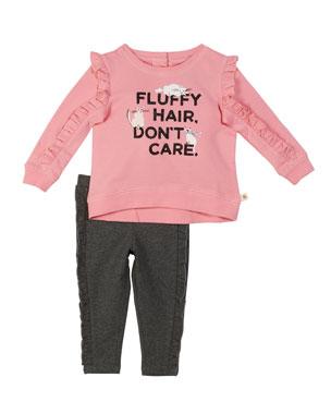 7f21b012106b kate spade new york fluffy hair cat sweatshirt w/ leggings, size 2-6x