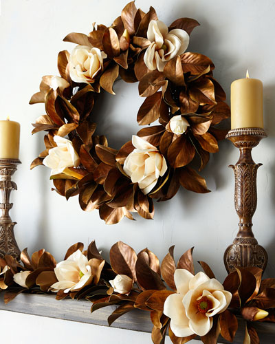 Hand-Painted Magnolia Wreath, 30