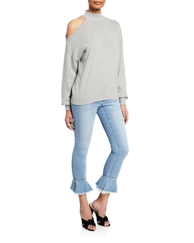 Long-Sleeve Shoulder Cutout Turtleneck Top and Matching Items