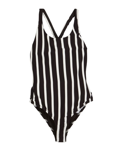 Striped Scoop-Neck One-Piece Swimsuit  Size 4-6  and Matching Items
