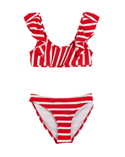 Striped Ruffle Pinafore Two-Piece Swimsuit  Size 4-6  and Matching Items
