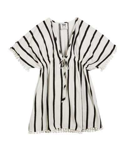 Stripe Embroidered V-Neck Swim Coverup, Size 4-6  and Matching Items