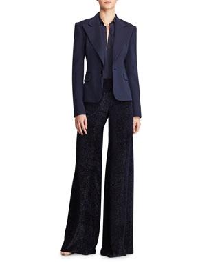 3aaebb85e743 Ralph Lauren Collection Couture Short Jacket Eldridge Long-Sleeve  Button-Front Silk Shirt Daria