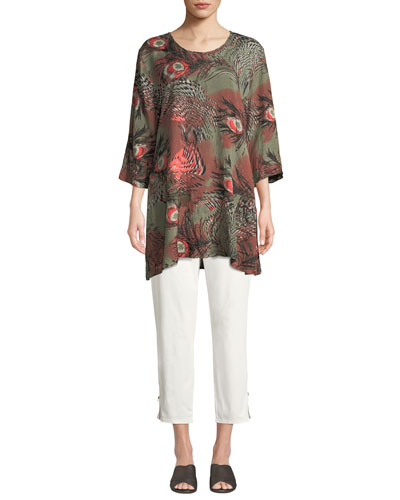 Gwen 3/4-Sleeve Peacock-Print Tunic  and Matching Items