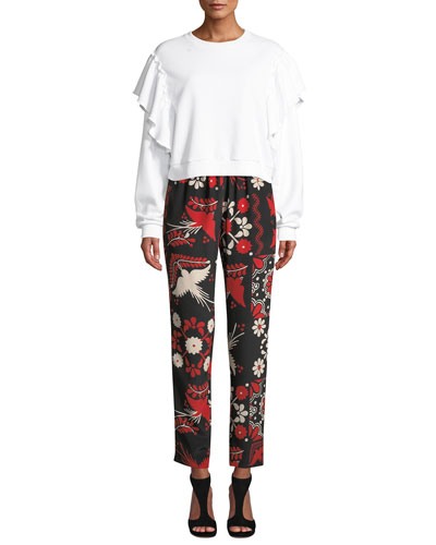 Crewneck Long-Sleeve Cropped Sweatshirt w/ Ruffle Shoulders and Matching Items