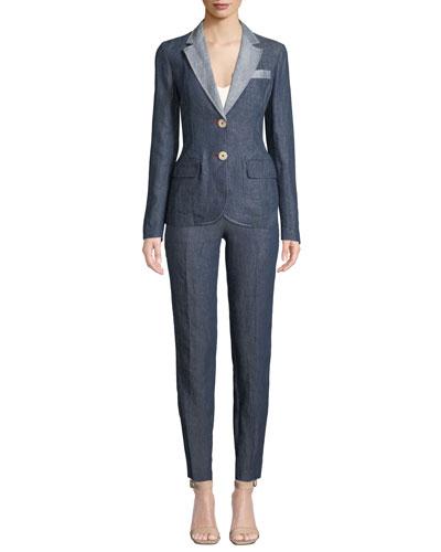 Linen-Denim Two-Button Blazer and Matching Items