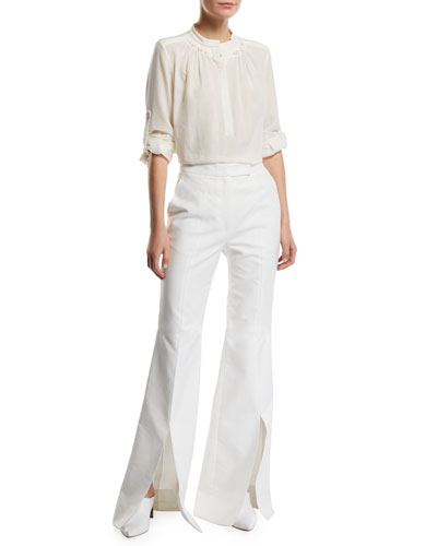 Juan Roll-Sleeve Wool/Cashmere-Gauze Henley Blouse and Matching Items