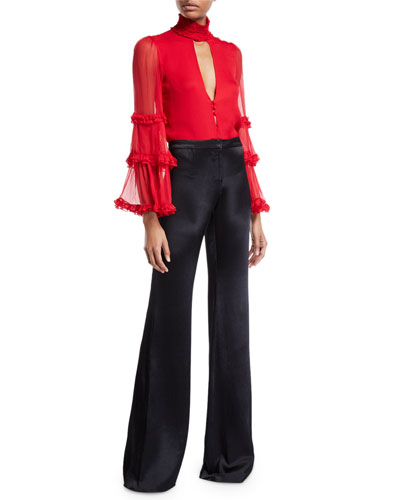 Hiro High-Neck Ruffle Keyhole Top and Matching Items