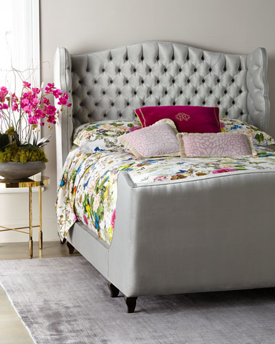 Beau Tufted Wing Back Queen Bed  and Matching Items