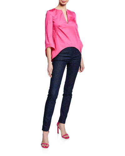 3/4-Sleeve V-Neck Shirting Blouse and Matching Items