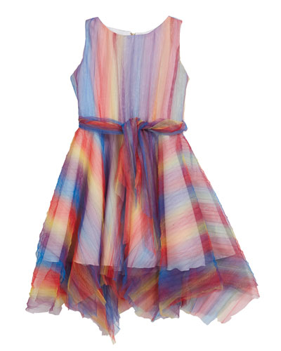 Summer Pleated Rainbow Mesh Handkerchief Dress