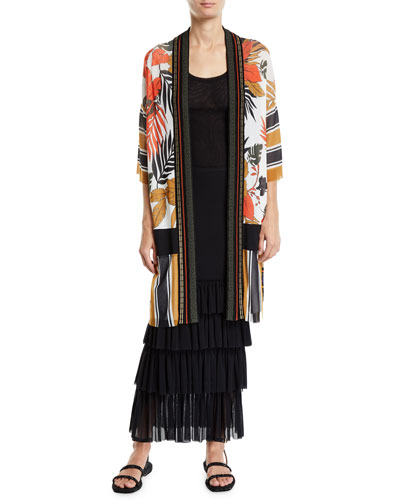Patchwork Half-Sleeve Knit Back Kimono and Matching Items