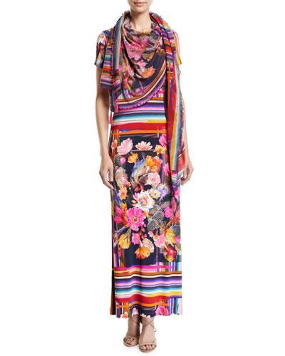 Cactus Short-Sleeve Mix-Print Maxi T-shirt Dress and Matching Items