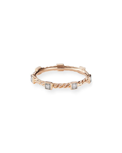 Cable Collectibles Stacking Band Ring w/ Diamonds in 18k Rose Gold  Size 6 and Matching Items