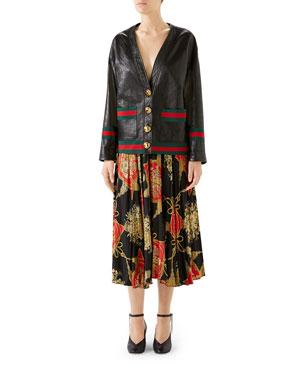 Gucci Web Ribbon-Trim Leather Cardigan Intrigue Floral Tassel Print Pleated  Silk Midi Skirt 87c997b1a